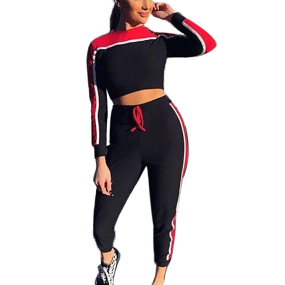 Amazon.com: VEZAD 2Pcs Women Tracksuit Sweatshirt Pants Sets Sport Long Sleeve Wear Casual Suit: Clothing