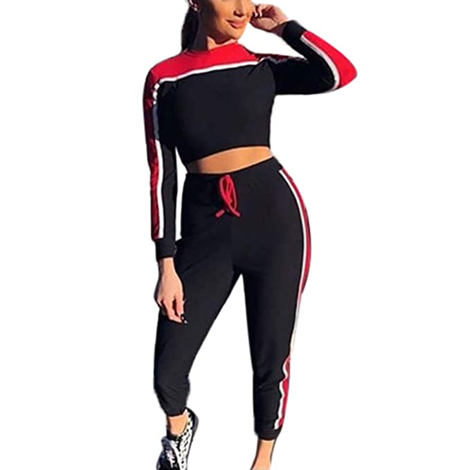 Amazon.com: UONQD 2Pcs Women Tracksuit Sweatshirt Pants Sets ...