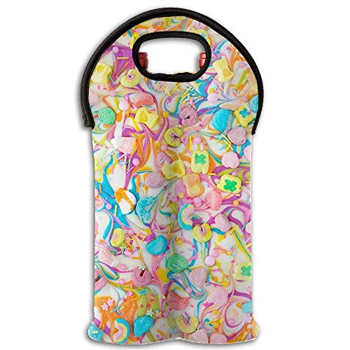 Wine Tote Carrier Bag Lucky Charms Chocolate Bark Purse for Champagne,Water Bottles -