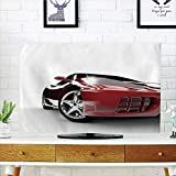 iPrint LCD TV Cover Lovely,Teen Room,Modern Automotive Vivid Toned Car Back View Prestige Passion Artistic Image Decorative,Black and Ruby,Diversified Design Compatible 70'' TV