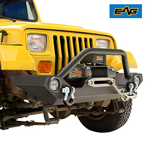 (EAG Front Bumper with LED Light & Light Frames Rock Crawler Fit for 87-06 Jeep Wrangler TJ YJ )