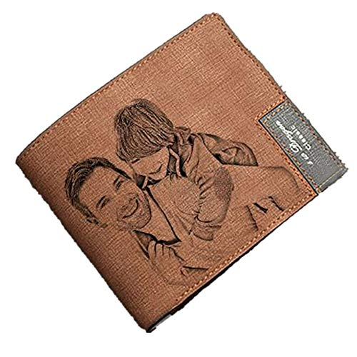 (Fashion men's custom photo wallet perfect personalized Father's Day gift(Light Brown Double Side))