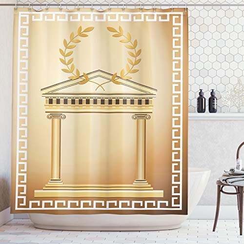 Ambesonne Toga Party Shower Curtain, Antique Building with