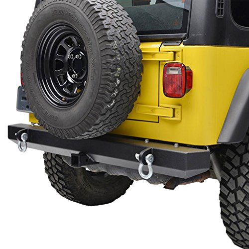 E-Autogrilles Jeep Wrangler YJ TJ Classic Rear Bumper with Hitch Receiver and D-Rings