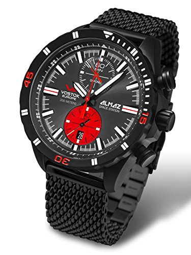 Vostok-Europe Almaz Black Red Russian Chronograph Watch Mesh Bracelet 6S11/320C260B