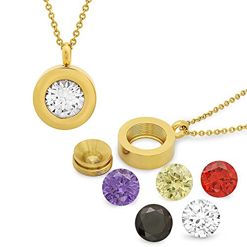 Gem Stone King Stainless Steel Round Interchangeable Gold Plated 10mm CZ Pendant with 18