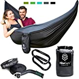 Double Hammock with Tree Straps and Carabiners - by HikeGuru w/ Real Tree Straps| Metallic Buckle System| RISK-FREE 365 DAYS| Lightweight 2.2| Unique Bag Design
