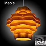 Handmade Unique Wave Hanging 1-Light pendant lamp M,made of natural Maple veneer, bright and beautiful,hanging lamp,ceiling light