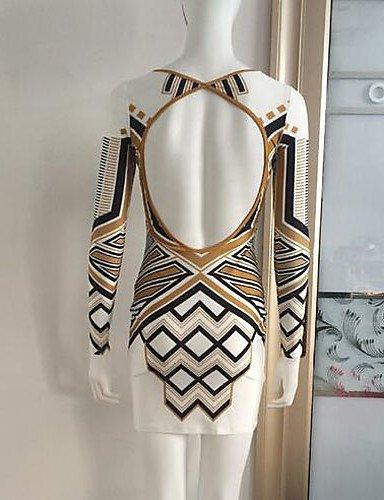 PU&PU Robe Aux femmes Gaine Vintage / Simple,Imprimé Col Arrondi Au dessus du genou Polyester , white-l , white-l