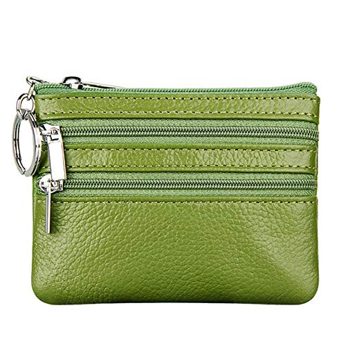 Coin Leather Zip Purse - Women's Genuine Leather Coin Purse Mini Pouch Change Wallet with Key Ring,green