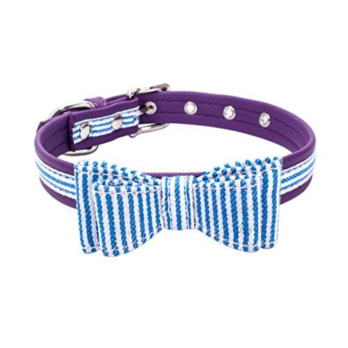 Dog Collars,Cute Adjustable Doggy Choker Bowknot Diamond USA Flag Pet Necklace Axchongery (S = 361.5CM, Sky Blue)