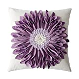 Purple Throw Pillows OiseauVoler 3D Sunflowers Embroidered Throw Pillow Cases Handmade Decorative Cushion Covers for Home Sofa Car Bed Room Decor 18 x 18 Inch
