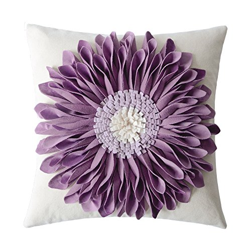 - OiseauVoler 3D Sunflowers Embroidered Throw Pillow Cases Handmade Decorative Cushion Covers for Home Sofa Car Bed Room Decor 18 x 18 Inch