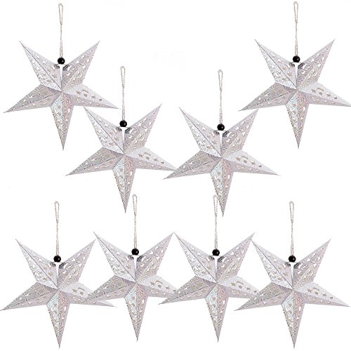 Paper Star Lantern Lampshade Hanging Christmas Xmas Day Decoration For LED Light Wedding Birthday Party Home Decor 8 Pcs 28cm Hollow Out Design (Lights not included) (Silver) ()