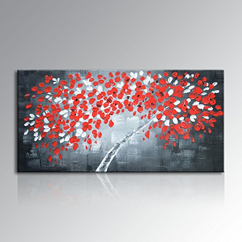 Seekland Art Hand Painted Abstract Money Tree Oil Painting on Canvas Fortune Wall Art Decor Hanging Modern Contemporary Artwork Unframed (80''W x 40''H, Red) by Seekland Art