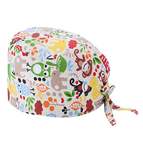 Adjustable Surgical Cap Scrub Cap Sweatband Medical Bouffant Cap Turban Cap Scrub Hat Head Cover for Men Women Doctor Nurse