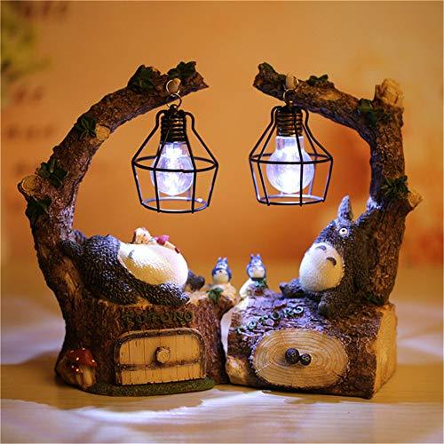 Kimkoala Totoro Figure, Japanese Anime My Neighbor Totoro Spirit Away Figures Totoro Figurine with Night Lamp Light Statue Models Dolls for Home Garden Decoration Children Gift (2Pcs Pack) (Figurine Studio)
