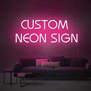 Custom LED Neon Signs, Large Neon Lights Sign for Bedroom Wedding Birthday Party Home Décor Personalized Custom Neon Sign Bar Salon Cafe Shop Night Light Sign Logo (2 Line Text, Max 35