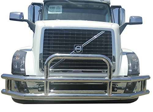 Green Mars Front Double Tube Grille Deer/Radiator Stainless Steel Guard Bumper with Brackets for Volvo VNL 04+ Bumper Grille Guard Tube