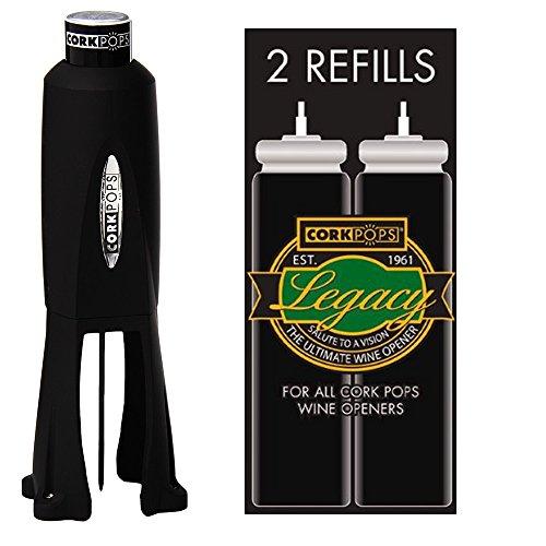 Cork Pops Legacy Wine Bottle Opener and 2 Refill Cartridges