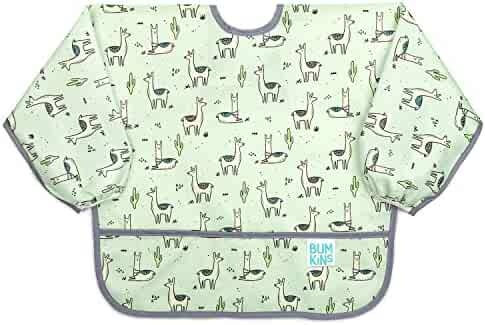Bumkins Sleeved Bib/Baby Bib/Toddler Bib/Smock, Waterproof, Washable, Stain and Odor Resistant 6-24 Months - Llama