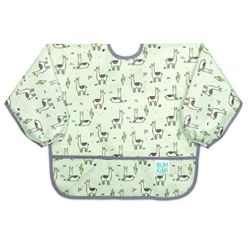 Bumkins Sleeved Bib, Toddler Bib, Smock, Waterproof, Washable, Stain and Odor Resistant, Llama, 6-24 Months