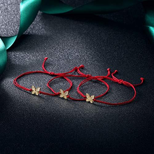JINBAOYING Hamsa Evil Eye Bracelet with Cubic Zirconia String Kabbalah Adjustable Bracelet Handmade Charm Bracelets for Women Men Girls Boys (Butterfly Bracelet (Set of 3)) by JINBAOYING (Image #3)