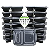 Freshware 15-Pack 2 Compartment Bento Lunch Boxes with Lids - Stackable, Reusable, Microwave, Dishwasher & Freezer Safe - Meal Prep, Portion Control, 21 Day Fix & Food Storage Containers (25oz) (Kitchen)