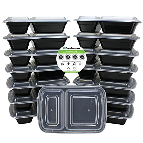 Freshware 15-Pack 2 Compartment Bento Lunch Boxes with Lids – Stackable, Reusable, Microwave, Dishwasher & Freezer Safe – Meal Prep, Portion Control, 21 Day Fix & Food Storage Containers (25oz)
