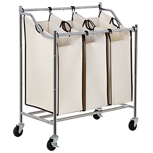 SONGMICS 3-Bag Rolling Laundry Sorter Cart Heavy-Duty Sorting Hamper W' Brake Casters Chrome URLS76M (3 Compartment Laundry Basket)