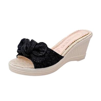 392b3aa78749 Foncircle Women Beach Sandals❤️️Ladies Flat Slippers Bow Tie Low Heels Wide Shoe  Black