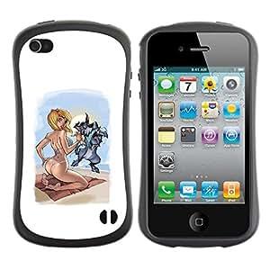 Paccase / Suave TPU GEL Caso Carcasa de Protección Funda para - sexy drawing woman babe girl blonde - Apple Iphone 4 / 4S