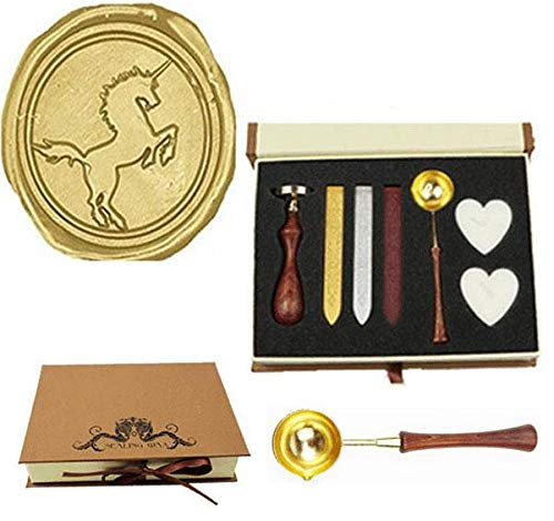 (MNYR Vintage Unicorn Sealing Wax Seal Stamp Wood Handle Melting Spoon Wax Stick Candle Gift Book Box kit Wedding Invitation Embellishment Holiday Card Christmas Gift Wrap Package Seal Stamp Set)