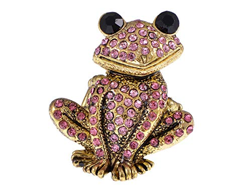 Alilang Antique Golden Tone Pink Crystal Rhinestone Curious Frog Toad Ring