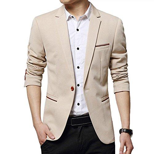 DAVID.ANN Men's Slim Fit Casual Blazer Jacket,Khaki,Small