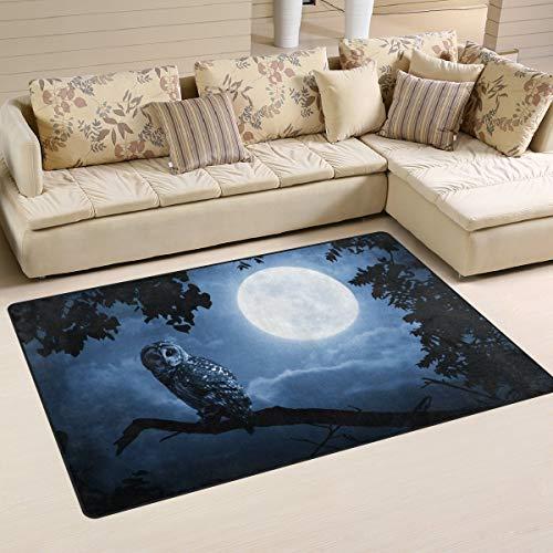 Area Rug Non-Slip Hallloween Night Owl Full Moon Floor Mat Doormats for Living Room Bedroom 60 x 39 inches