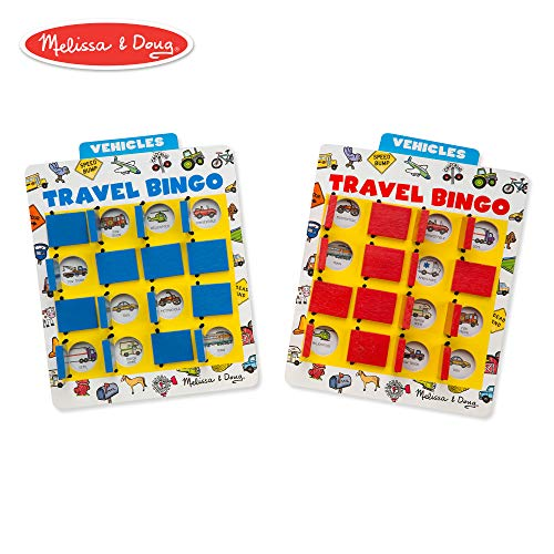 (Melissa & Doug Flip to Win Travel Bingo Game - 2 Wooden Game Boards, 4 Double-Sided Cards)