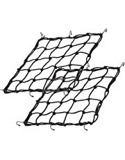 """2Pack 15.7""""x15.7"""" Cargo Net, Heavy Duty Bungee Net Stretches to 31.5""""x31.5"""", Gear Helmet Luggage Thicken Netting with 3""""x3"""" Small Mesh & 6 Adjustable Metal Hooks for Motorcycle, Bike, ATV"""