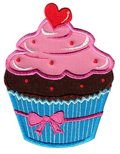 PatchMommy Iron On Patch, Pink and Blue Cupcake - Appliques for Kids ()
