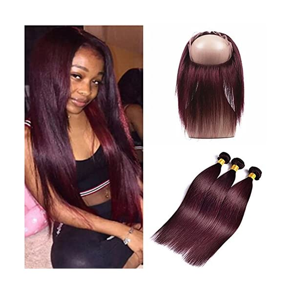 Ruma Hair 99j Burgundy Virgin Hair Silky Straight Weave 3 Bundles