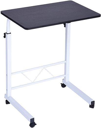 Adjustable Laptop Desk Portable Computer Table with Wheels Standing Rolling desks Mobile Side Tables Movable Small Desk Black