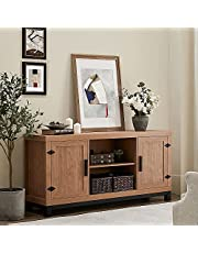 WAMPAT 58 Inch Rustic Retro TV Stand Entertaiment Media Console Center with Adjustable shelfs Media TV Stand Storage Console,Rustic Brown