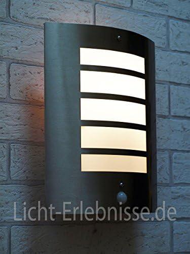 Edelstahl Außenleuchte mit Bewegungsmelder E27 Sensor einstellbar Wandlampe Außen Terrasse Garten Tür