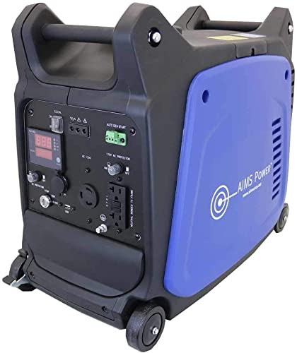 AIMS Power GEN3200W120V Portable 3200W Inverter Generator, 4 Stroke OHV 150cc 5500rpm Engine, 2800 Watt Rated Power, Recoil Starter, Electric Starter, Wheels with Brake System