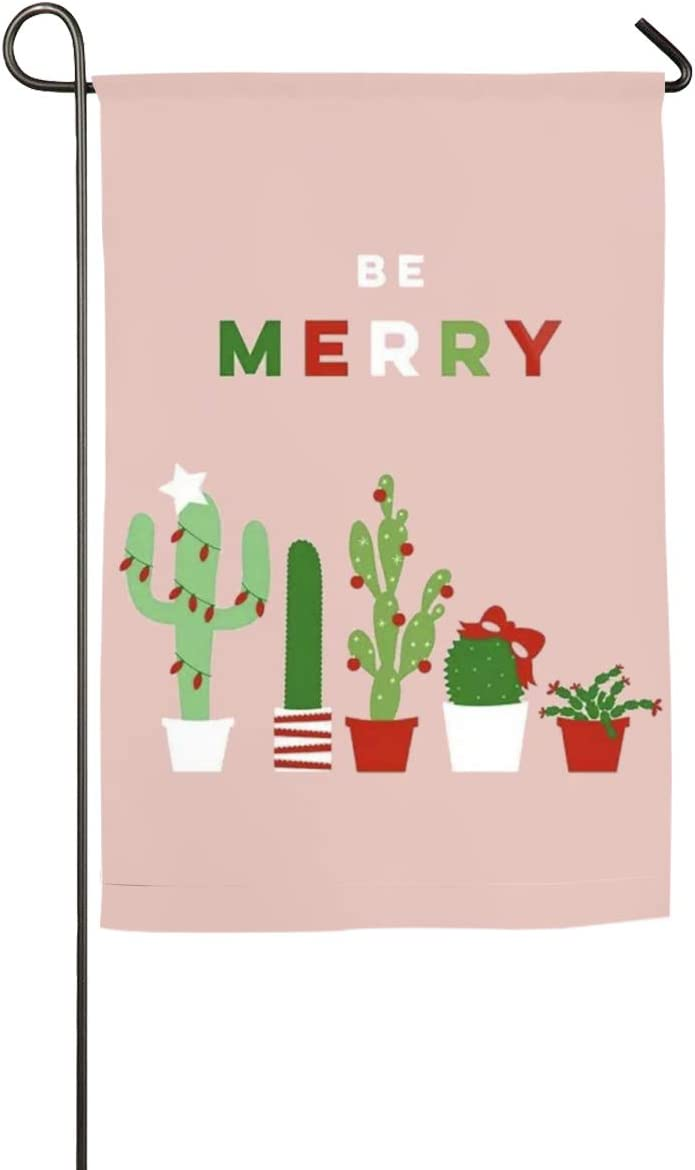 "Christmas Potted Cactus Garden Flag Holiday Celebrate Garden Decor Flag 12""x18"""