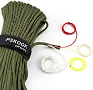 PSKOOK 550 Paracord Survival Fire Parachute Cord Outdoor Military Grade with Waxed Flax Tinder Fishing Line an