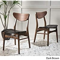 Adelade Dark Brown Leather/ Walnut Finish Mid Century Modern Dining Chair (Set of 2)