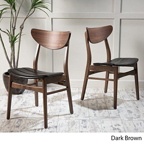 Adelade Dark Brown Leather/Walnut Finish Mid Century Modern Dining Chair (Set of 2)