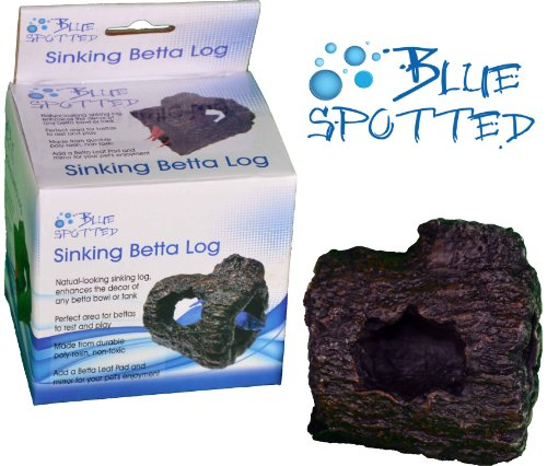 Blue Spotted Betta Log Fish Ornaments for Betta Fish, Tropical Fish Aquariums & Saltwater Fish Aquariums