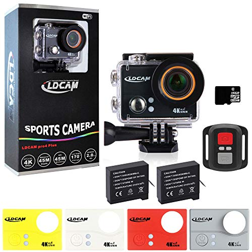 """LDCAM Pro4 Plus 4K WIFI Sport Action Camera, Underwater WiFi Ultra HD 14MP Waterproof 45m 2"""" LCD Sports Camera with 2 Rechargeable 1500mAh Batteries and Mounting Accessory Kit (4K-2.0"""" Black) Lireder"""
